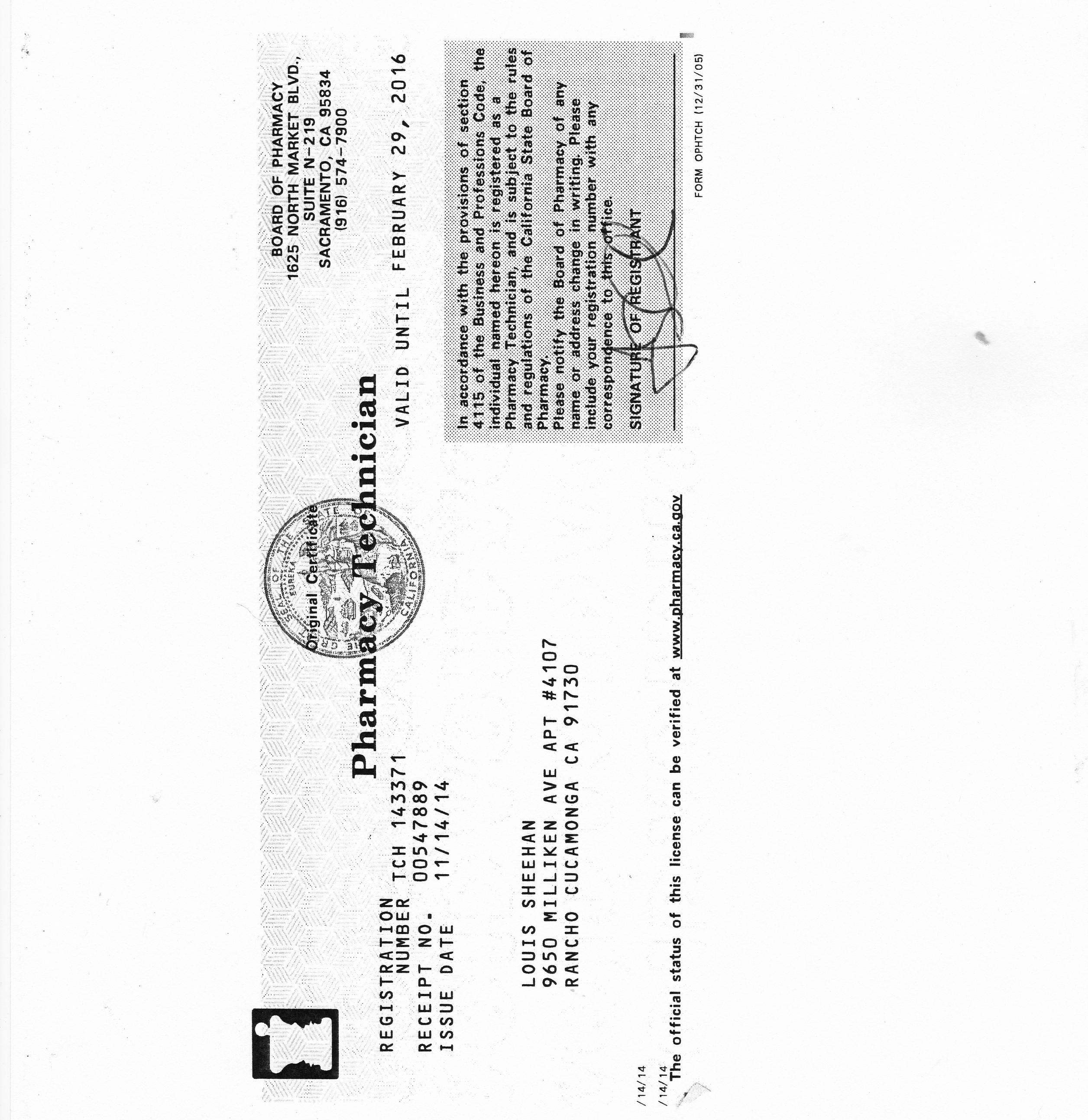 Louis Sheehan Pharmacy Technician Certification Board Cert Num